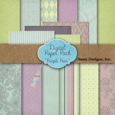 Purple Pear Digital Paper Pack  #EasyNip