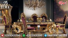 Set Meja Makan Sultan Ukiran Jepara Mewah Classic Gold Leaf DF-1325