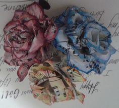Watercolor on paper roses made with vintage sheet music :)