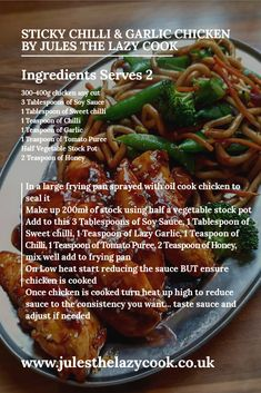 Sticky Chilli Garlic Chicken – Jules The Lazy Cook Chicken Wing Recipes, Meat Recipes, Slow Cooker Recipes, Asian Recipes, Dinner Recipes, Cooking Recipes, Healthy Recipes, Recipies, Savoury Recipes