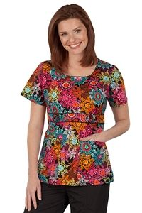 "Peaches Uniforms Betty Top in ""Winter Impressions Brights"" 4635-WNIM Betty Print Top #4635  100% Cotton  U neckline with piping detail  Belt detail with buttons  Roomy patch pockets  Length 26""  XS-3X  $22.50 #scrubs #scrubcouture #nurses"