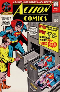 Action Comics - Superman, You're Dead. / Superbaby's Lost World! Old Comic Books, Vintage Comic Books, Comic Book Artists, Comic Book Covers, Vintage Comics, Superman Action Comics, Superman Comic, Superman Stuff, Superman Family