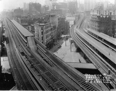 1916 view of the newly completed 2nd and 3rd Ave El Chatham Square station complex looking SE down Park Row from above the Bowery El structure at East Broadway.