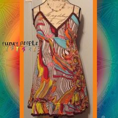 "FUNKY PEOPLE Bright Colored Hippie Design Dress WORN ONCE. SIZE M. 33"" Length. Adjustable Straps. Brown Ruffle Hemline Around Bust & Bottom. Elastic Band Under Bust For Shape. Bright & Vivid Strawberry Pink, Sapphire Blue, Sunshine Yellow, Crimson, Fire Orange, White, & Brown Colors. Fun, & Flirty Summer Dress Must!! Funky People Dresses Midi"
