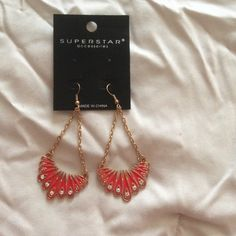Beautiful light weight new earrings New light weight red with gold and diamond accents ❗️last one ❗️ Jewelry Earrings