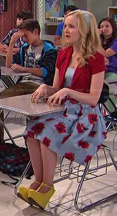 Liv's blue floral dress and yellow wedges on Liv and Maddie Floral Dress Outfits, Girly Outfits, Dress Casual, Disney Outfits, Dress Red, Liv Rooney, Tv Show Outfits, Band Outfits, Dove Cameron Style