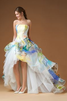 """NANETTE by Atelier Eme / Art // strapless ball gown with draped skirt in printed """"Murals"""" silk organza. Elegant Dresses For Women, Beautiful Dresses, Colored Wedding Dresses, Wedding Gowns, Wedding Ceremony, Strapless Dress Formal, Formal Dresses, Fancy Dress, Rainbow Wedding"""