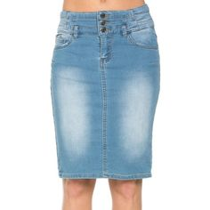 Triple Button High Waisted Knee Length Denim Pencil Skirt ($30) ❤ liked on Polyvore