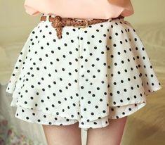 Wild Chiffon Polka Dot tutu sun Dress Pleated Skirt Pants With Belt