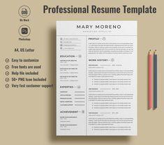 Professional resume template Minimalist resume template | Etsy