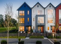 is a new townhouse development by Mosaic Homes in Port Coquitlam, BC. Explore prices, floor plans, photos and details. Modern Townhouse, Townhouse Designs, Narrow House, Facade House, Modern House Design, Duplex Design, Exterior Design, Modern Architecture, New Homes