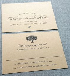 Amanda Charcoal Tree Recycled Kraft Wedding Invitation Sample  {Description} A tree is featured on the top of the Amanda wedding invitation, along with beautiful typography and a tiny leaf at the bottom, all printed in charcoal gray. This invitation measures 5 x 7, is professionally digitally printed on thick 100% recycled 100lb kraft card stock with natural flecks, and can be customized with the wording and fonts of your choice.  Each invitation set includes one wedding invitation, one…