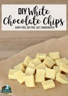 DIY White Chocolate Chips {dairy-free, soy-free, just 3 ingredients! Sugar Free White Chocolate, White Chocolate Recipes, Homemade Chocolate Chips, Dairy Free Chocolate, Healthy Chocolate, Chocolate Desserts, Dairy Free Recipes, Real Food Recipes, Gluten Free