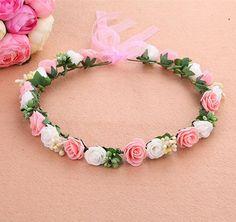 Mori Garota Série casamento nupcial meninas Acessórios Para o Cabelo coroa de flores coroa floral para as mulheres cabeça subiu tiara Guirlanda hh5005