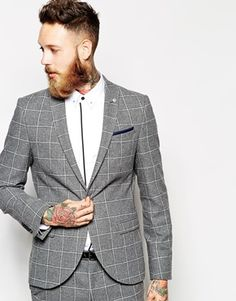Noose+&+Monkey+Grey+Check+Suit+In+Skinny+Fit+
