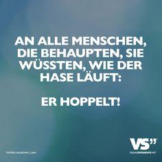 An alle Menschen, die behaupten, sie wüssten, wie der Hase läuft: Er hoppelt! - VISUAL STATEMENTS®
