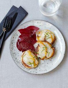 Blinis de pommes de terre, haddock et betterave