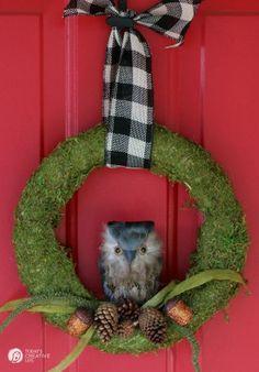 DIY Moss and Owl Wreath  Pinned by www.myowlbarn.com