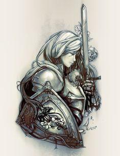 Female Crusader Tattoo Monochrome by scrubbyink - Krieger Armor Of God Tattoo, Norse Tattoo, Viking Tattoos, Medieval Tattoo, Body Art Tattoos, Girl Tattoos, 3d Tattoos, Arm Tattoo, Samoan Tattoo