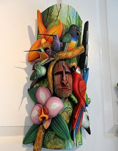 Costa Rican Rainforest Mask exhibited in Selby Gardens, Sarasota Florida.
