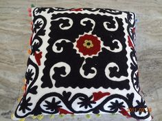 "Indian Suzani Embroidered Handmade Cushion Cover 16x16"" Home Decorative Pillow Sofa Decor Boho Bohemian Designer Pillow With Pom Pom Lace by ArtofPinkcity on Etsy"