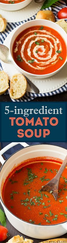 5-Ingredient Tomato Soup ( ready in 20 minutes!) - love love this easy recipe! Perfect for a quick weeknight dinner with grilled cheese or fresh bakery bread! @progressosoups ‪#‎ProgressoEats‬ ‪#‎spon‬
