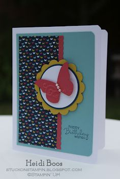 "Butterfly card -- Recipe Stamp Set: Petite Pairs Paper: Whisper White, Baja Breeze, Summer Starfruit, Midnight Muse, Primrose Petals, Patio Party DSP Ink: Midnight Muse Accessories: Pearl Accents, Dimensionals Tools: Big Shot, Beautiful Wings Embosslits die, 3/16"" Corner punch, Dotted Scallop Ribbon Border punch, 2-3/8"" Scallop Circle punch, 1-3/4"" Circle punch"