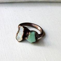 Copper Chrysoprase Opal Ring Unique Emerald Pale Caribbean Green Handmade Organic Raw Modern.