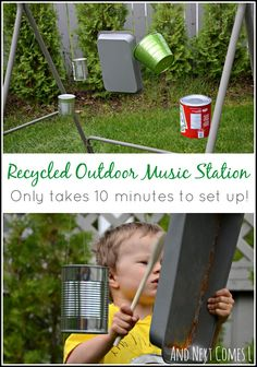 DIY recycled outdoor music station for kids that's temporary and only takes 10 minutes to set up Preschool Music, Music Activities, Summer Activities, Preschool Activities, Outdoor Education, Outdoor Learning, Kids Learning, Homemade Musical Instruments, Outdoor Classroom