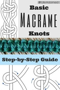 Interested in learning the basics of macramé? Here's an illustrated guide of the most common knots used in macramé. knots Basic Macramé Knots: Step by Step Guide · Life Adorned Knots Guide, Macrame Curtain, Micro Macramé, The Knot, Macrame Design, Macrame Projects, Diy Projects, Macrame Bracelets, Loom Bracelets