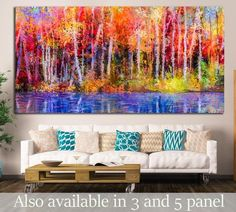 Modern wall art 'Colorful Forest Oil Painting"