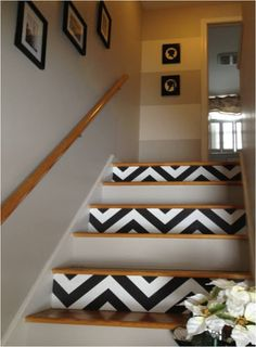 DIY chevron stairs, painting chevron stripes, chevron, foyer