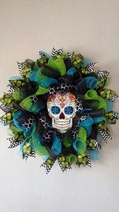 DIA DE LOS MUERTOS/DAY OF THE DEAD~Sugar Skull Wreath