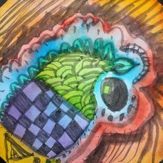 Just playing. #doodle #zentangling #zentangle #watercolors