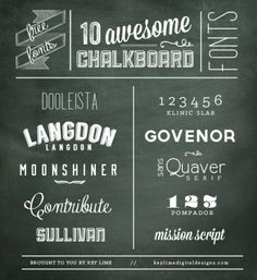 Freebie - 10 Chalkboard fonts compiled by Key Lime Digital Designs