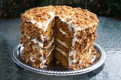 """""""It's The Great Pumpkin Cake, Charlie Brown!!""""  Pumpkin Crunch Cake with Cream Cheese & Mascarpone Frosting & Crunch Topping.  Blogger pinned says, """"When ever I make it, it becomes everyone's instant favorite, I get requests for whole cakes, recipes and even marriage proposals…lol….yes its just that good!  So when you try it at home, be prepared to wow your family and friends!"""""""