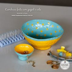 Como fazer cumbuca usando papel e cola-  Passo a passo com fotos - How to make a bowl using paper and glue - DIY tutorial  - Madame Criativa...