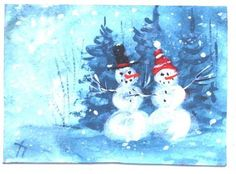 Snowman and Snowlady 2.5x3.5 in. acrylic painting by Jim Smeltz