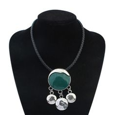 New Fashion Long Ethnic Black Leather Necklace for Women Collar Statement Necklaces Woman Vintage Zora Jewelry Accessories 2015