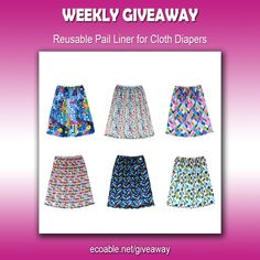 Weekly Giveaway! Win Reusable Paile Liner for Cloth Diapers. Visit ecoable.net/giveaway for more details