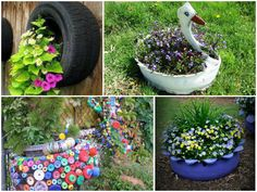 Recycle old tires as planters...