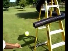 We created a DIY pitching machine using drainage pipe from the hardware store, a step ladder and some bungee cords. Softball Pitching Machine, Softball Drills, Baseball Pitching, Slow Pitch Softball, Baseball Training, Softball Bats, Softball Stuff, Pro Basketball, Sports Training
