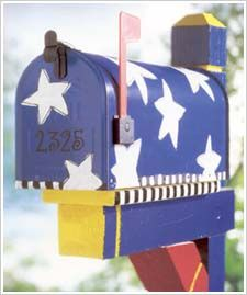 Stars Mailbox by Plaid Enterprises-- Paint your mailbox exactly as they suggest or use this as a jumping off point for your own creative patriotic ideas!