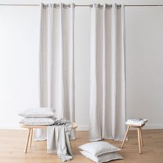 The grommet linen curtains have a gentle drape and bring a natural, easy charm to a home. The supersoft yet robust linen can be machine washed, making it easy to keep these curtains looking their best! White Linen Curtains, Panel Curtains, Curtain Fabric, Linen Fabric, Bay Window, Spanish Fork, Interior, Room, Textiles