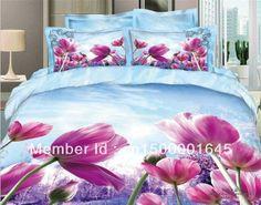 2013 New Beautiful 100% Cotton 4pc Doona Duvet QUILT Cover Set bedding sets Full Queen King size 4pcs blue pueple flowers AP-5