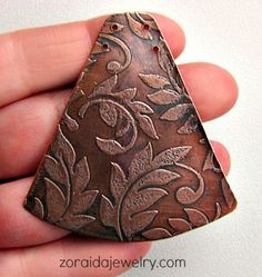 Copper Leaf Pattern Etched Pendant with two holes | zoraida - Jewelry on ArtFire