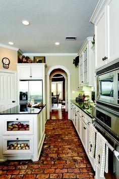 Love brick floors for the kitchen! Brick Floor Kitchen, Kitchen Flooring, Kitchen Countertops, Granite Kitchen, Kitchen Backsplash, Cement Countertops, Kitchen Island, Kitchen Cabinets, Style At Home