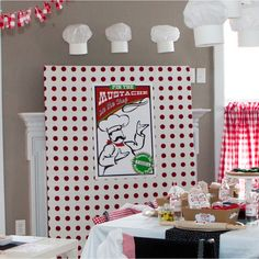 Pizzeria Pizza Birthday Party Printable Pin the Mustache on the Chef Game