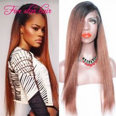 Find More Human Wigs Information about Hot sale full lace human hair wigs virgin Brazilian Silky Straight  #1b/#33 Ombre lace front wig with baby hair for black women,High Quality wig short,China wigs and hairpieces for white women Suppliers, Cheap wig head from Five star human hair products store  on Aliexpress.com
