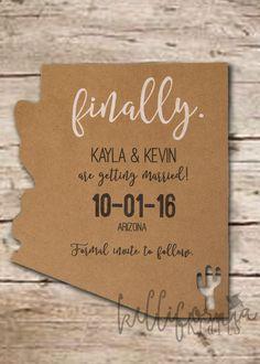 Save the Date - Invitation - State - Destination Wedding - Rustic - Desert - Arizona